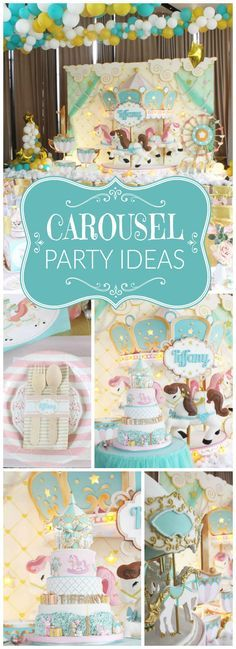 Wow! What a stunning pastel carousel birthday party! See more party ideas at CatchMyParty.com!