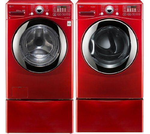 LG Red 3.7 Cu Ft Steam Washer and 7.3 Electric Steam Dryer set with Pedestals WM3070HRA DLEX3070R WDP4R (012505225222) 3.7 CU. FT. EXTRA LARGE CAPACITY TURBOWASH WASHER WITH STEAM TECHNOLOGY 1200 RPM Spin Speed - 1 Year Parts and Labor, 10 Years Motor, Lifetime on Drum 7.3 CU. FT. ULTRA LARGE CAPACITY STEAMDRYER Dryer Cycles: Manual Dry: Air Dry, Speed Dry Sensor Dry: Anti-Bacterial, SteamSanitaryTM, SteamFreshTM, Bulky/Large, Heavy Duty, Small Load, Delicates, Towels, Perm Press, ...