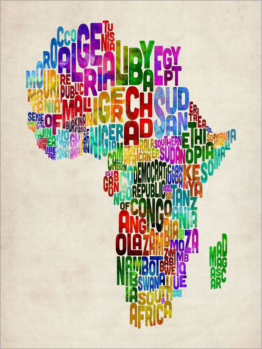 Typography Map of Africa Map, Art Print 18x24 inch (773). via Etsy.