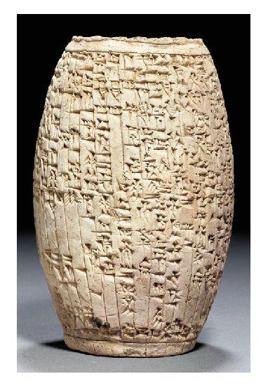 AN OLD BABYLONIAN TERRACOTTA CUNEIFORM BARREL - REIGN OF SÎN-IDDINAM, 1849-1843 B.C.