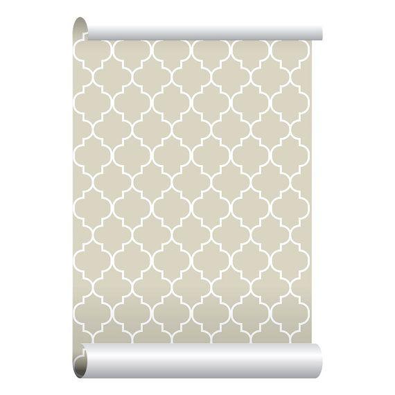 Self-adhesive Removable Wallpaper, Moroccan Print Beige Wallpaper, Peel and Stick Repositional Fabric Wallpaper, Custom Design Wall Mural