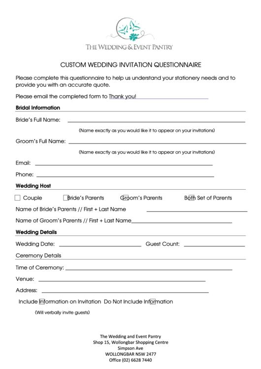 Need a Custom Wedding Invitation Questionnaire? Here's a free template! Create ready-to-use forms at formsbank.com