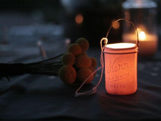 love these Kerr jar votive holders by Pigeon Toe