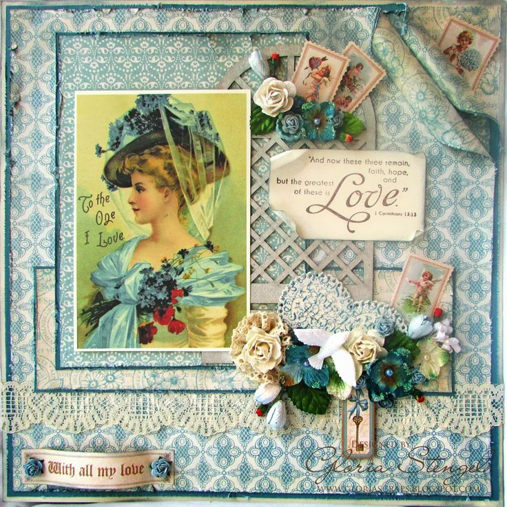 "12x12 altered ""canvas"" using hoarded blue items. by Gloria Stengel"