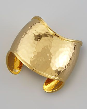 22k Gold-Plate Hammered Curve Cuff by Nest at Neiman Marcus.