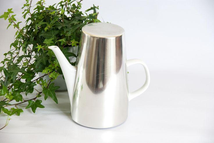 Vintage Melitta coffee pot, white coffee pot, insulated coffee pot, silver coffee pot, Melitta coffee maker, white teapot, coffee pot warmer by VintageEuropeDesign on Etsy