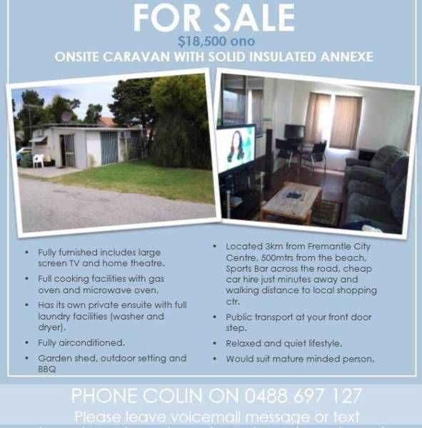 Onsite caravan for sale | Caravans | Gumtree Australia Fremantle Area - Fremantle | 1126686682
