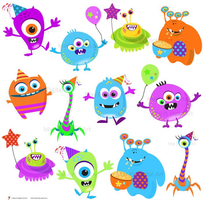 Monster Clipart Clip Art Cute Little Birthday Party Digital Monster Cute Silly Funny printable scrapbooking, DIY invites, cards 10103. $7.70, via Etsy.
