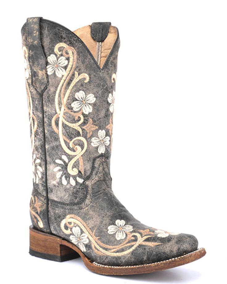 Be sporting these gorgeous women's boots to create a true cowgirl look! Handcrafted from distressed leather for an appealing worn finish, these square-toe boots showcase floral scroll embroideries on the shafts and feet. They also feature pull straps to help pulling on, cushioned insoles and leather linings provide much comfort, and leather outsoles with rubber heel tabs make for confident strides.