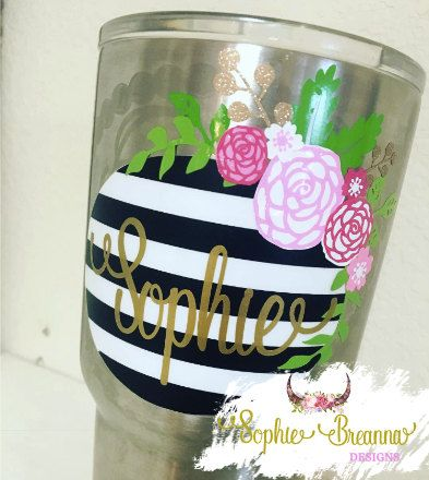 Striped floral monogram decal floral monogram sticker custom tumbler vinyl sticker yeti rtic