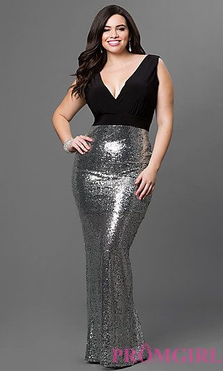 Sequin Skirt and Low V-Neck Floor Length Sydney's Closet Dress at PromGirl.com