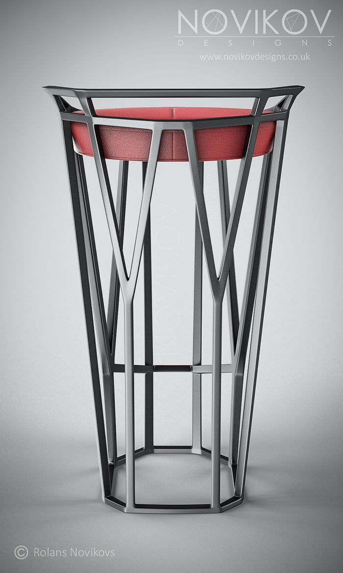 Octa Stool - Grey metallic frame with red leather seat by Novikov Designs www.novikovdesigns.co.uk