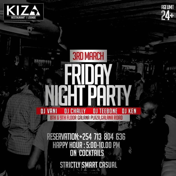 @kiza_nbo #at254 #nairobi  #entertainment #march #friday #tgif #membersnight #live #whiskey #hangout #guys #bosslady #diva #divas #happy #food #kenya #tag2post #bestdj #bottles #shots #beer #upscale #maturecrowd -  No one in the corner throws a Friday Party like us! See you later today and don't forget to check in early and in time for Happy Hour. 4:30pm - 10pm. #TomorrowAfrica -