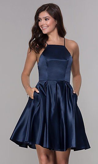 b1c44abc3a4d Shop satin short homecoming dresses at Simply Dresses. Semi-formal short  dresses and open-back party dresses with string bow ties, high necklines,  ...