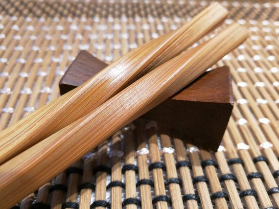 Twisted Asian Chopsticks with Rest