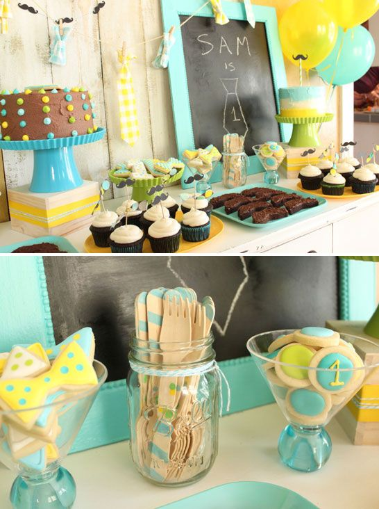 Ties and Mustaches 1st Birthday Party  |  TheCakeBlog.com