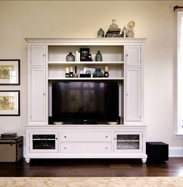 Living Room or family Room TV Cabinet. Great idea if you can't have built-in cabinets in your family room | Living Room
