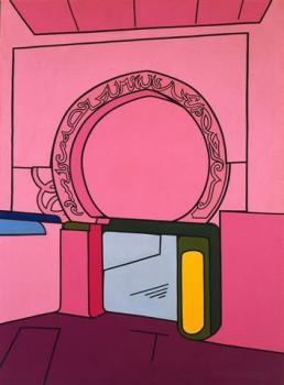 """Valerio Adami """"Paesaggia Rabi """" Acrylique sur toile, 114 x 164 cm, 1969"""