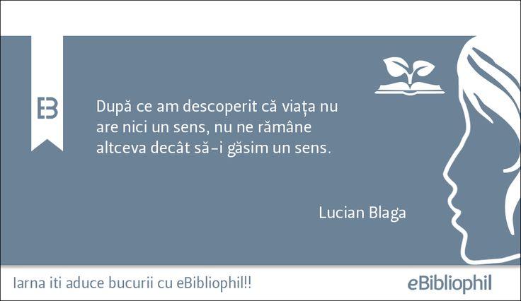 """""""După ce am descoperit că viața nu are nici un sens, nu ne rămâne altceva decât să-i găsim un sens."""" Lucian Blaga"""