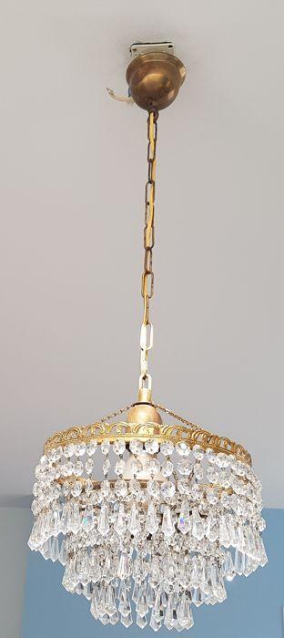 Oude kristallen hanglamp 1e helft van de 20e eeuw