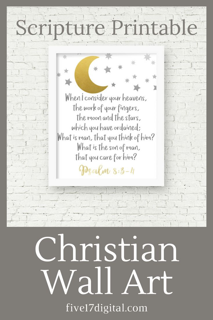 This moon and stars wall art featuring Psalm 8:3-4 would be a great print to add to your galaxy nursery décor in your Christian home. This Scripture printable would also be a wonderful baby shower gift for anyone who loves astronomy.