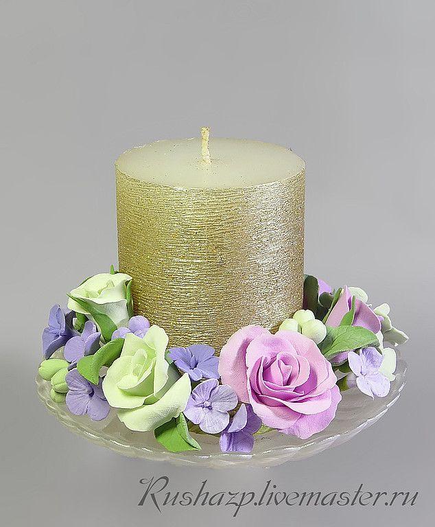 """Купить Подсвечник - венок """"Весенний"""" с цветами из полимерной глины - подсвечник, венок, для интерьера, украшение интерьера"""