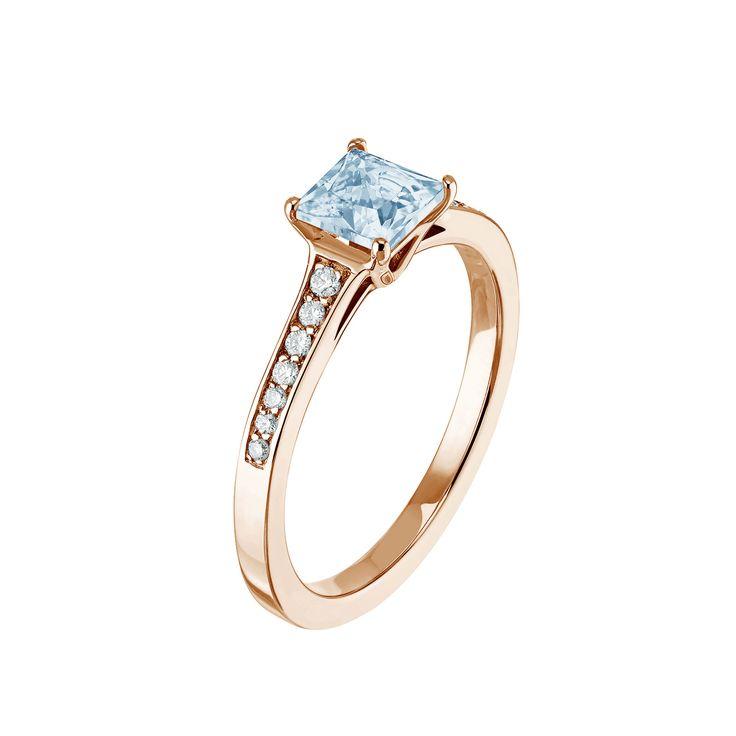 Bague Diana - Or rose 18 cts, Aigue-marine et Diamant 2