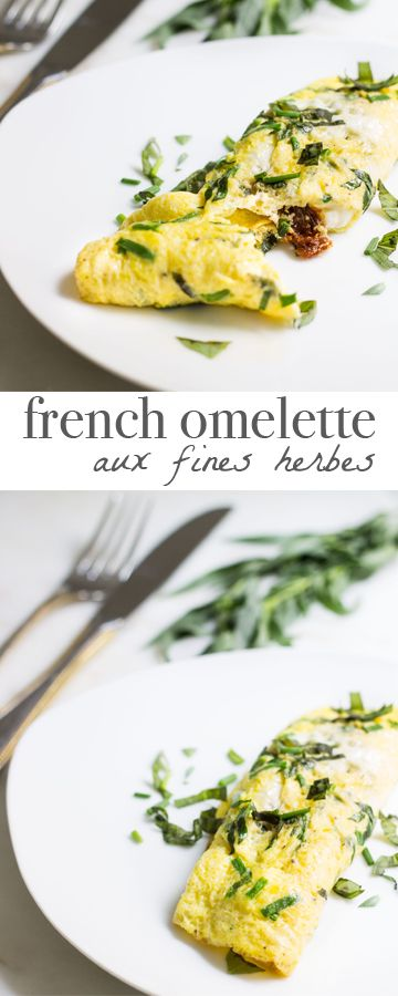 Easy French omelette made with fresh herbs, sundried tomatoes, and crumbled goat cheese. Recipe via MonPetitFour.com