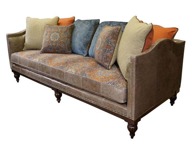 Broyhill Sofa Aurora Sofa Western Sofas and Loveseats this stunning contemporary Western style sofa is wrapped in buffalo leather reversed to show the soft suede look