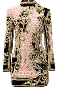 Balmain Embellished quilted velvet mini dress