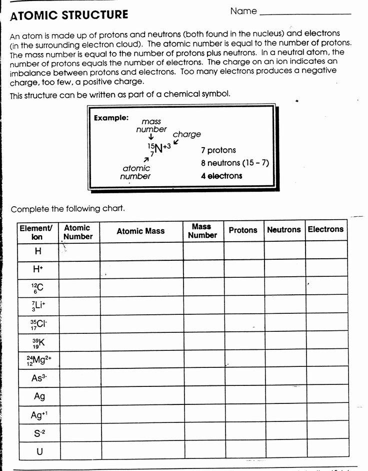 Atomic Structure Worksheet Answers Chemistry Elegant
