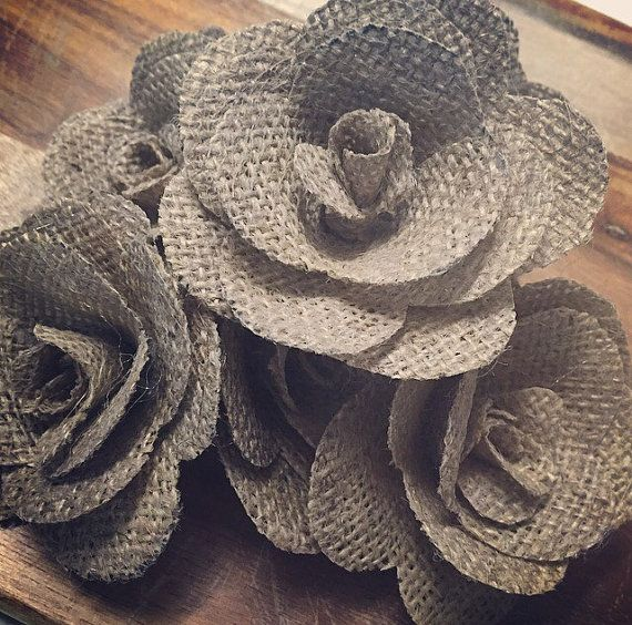 hessian flowers | Set of 10 single DIY hessian flowers ...on their own :)