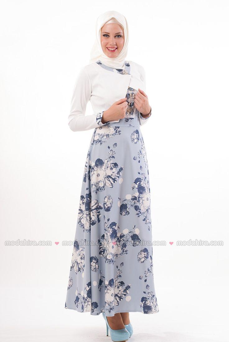 Çiçekli Mavi Tesettür Elbise Takım - 2240-05  Tesettür elbiseler ile en şık olmaya hazırlanın. Sipariş için 0850 811 80 30