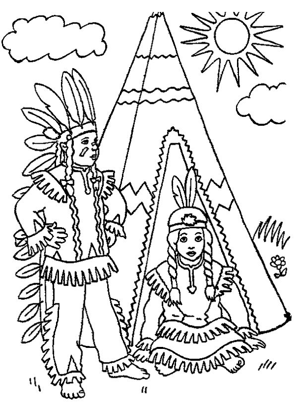 Indian Head Dress Coloring Pages