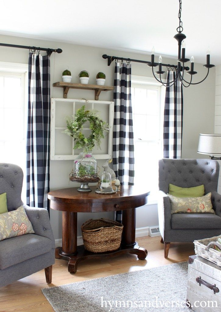 buffalo plaid curtains spring home tour hymns and verses pretty farmhouse country livingroom with drapes and chairs