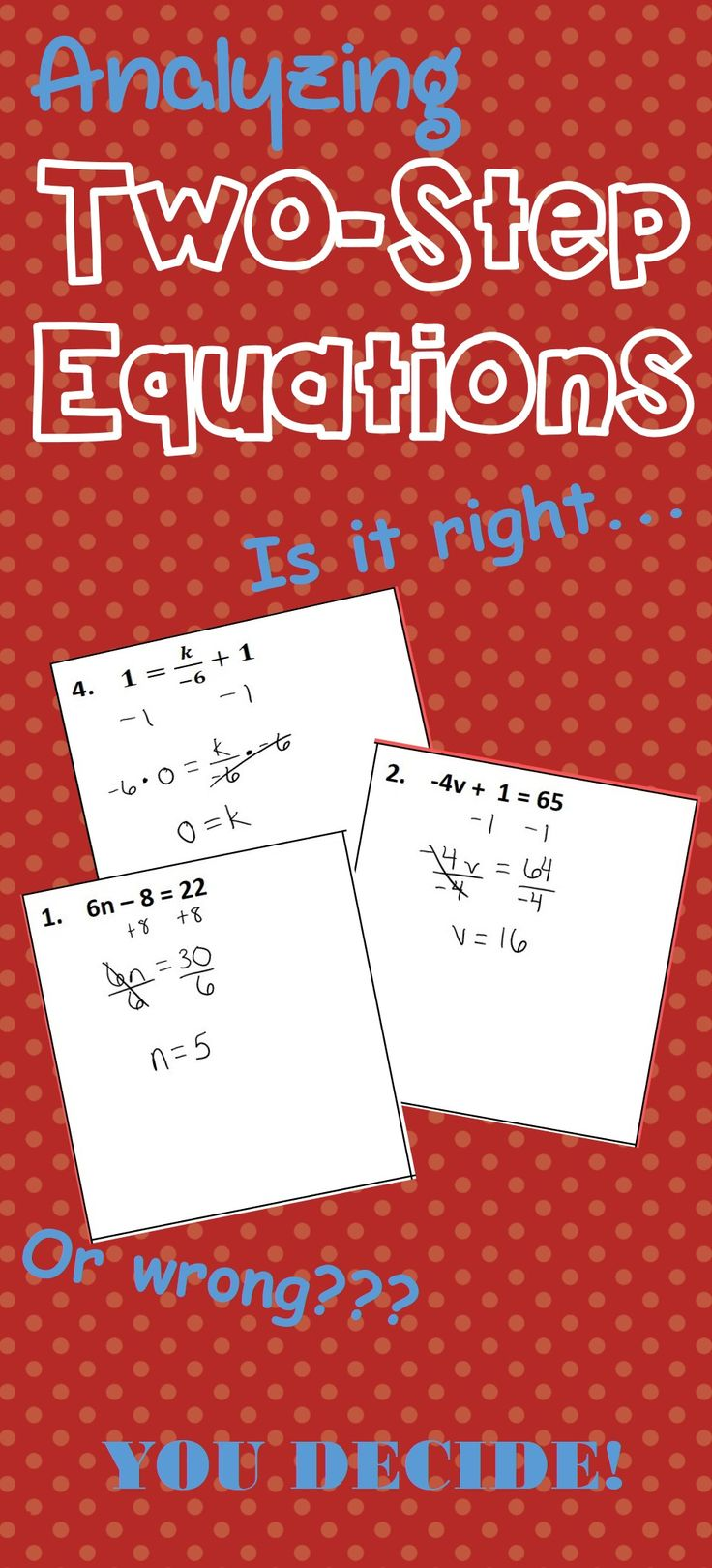 98 best unit 10 solving linear equations images on pinterest this activity is great because it forces your students to analyze another persons work in order buycottarizona Gallery