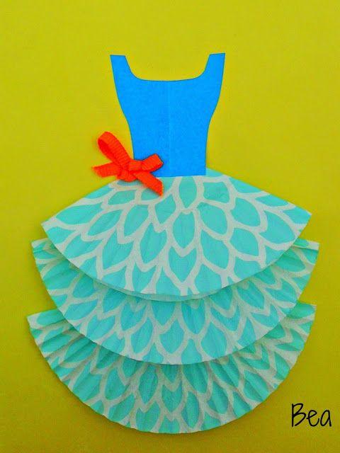 kreatywne prace plastyczne  laurka z sukienk u0105  a card with