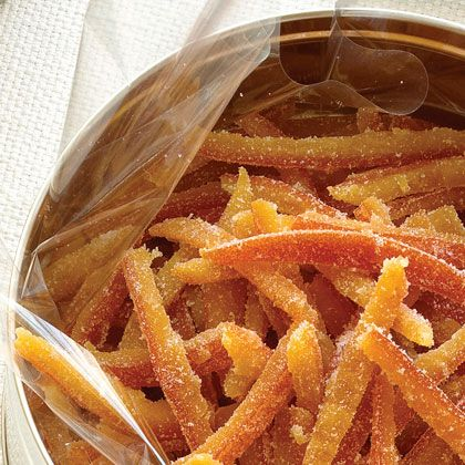 Candied Citrus Peel | An unusual whole-peel technique is used to make this classic holiday candy soft and luscious. Prep and Cook Time: 5 hours, plus at least 8 hours of drying time. Notes: Use an equal amount of lemons or grapefruits in place of the oranges if you like. The peel keeps at room temperature in an airtight container for up to 2 weeks.