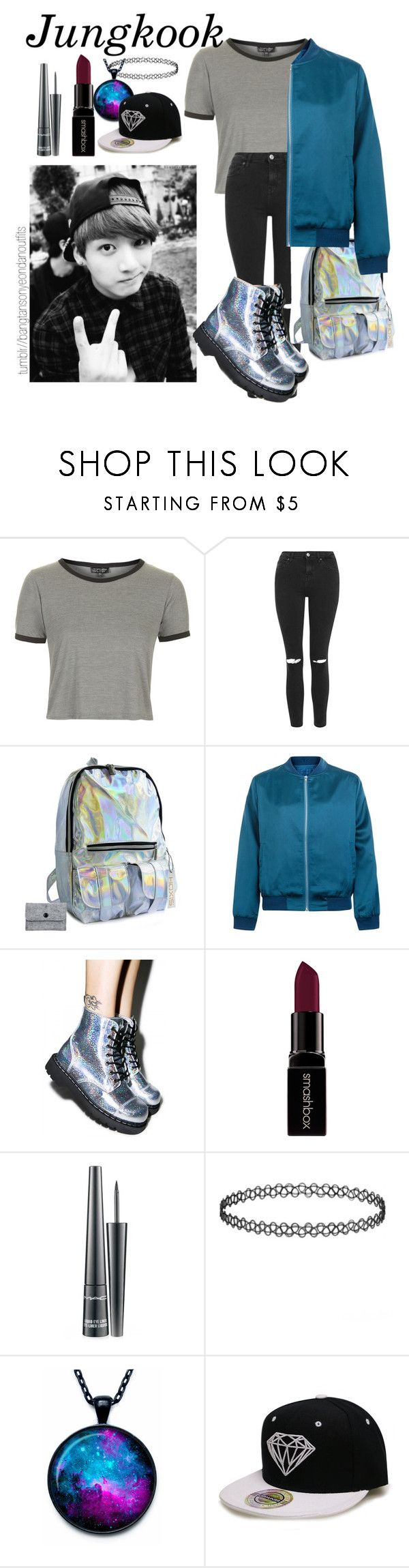 """BTS inspired aesthetic outfit - Jungkook"" by bangtanoutfits ❤ liked on Polyvore featuring Topshop, Cameo Rose, T.U.K., Smashbox, MAC Cosmetics, kpop, bts and jungkook"