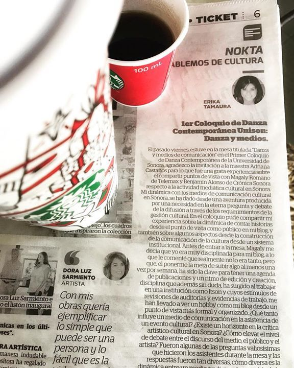 1er Coloquio de Danza Contemporánea Universidad de Sonora Bellas Artes Unison mi columna #Nokta en Tribuna Sonora lista en mi blog: www.erikatamaura.com
