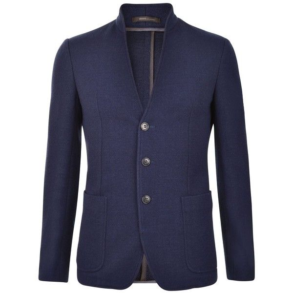 ARMANI COLLEZIONI Single Breasted Wool Jacket ($355) ❤ liked on Polyvore featuring men's fashion, men's clothing, men's outerwear, men's jackets, navy, mens collarless jacket, mens navy blue jacket, mens navy jacket, mens wool outerwear and mens wool jacket