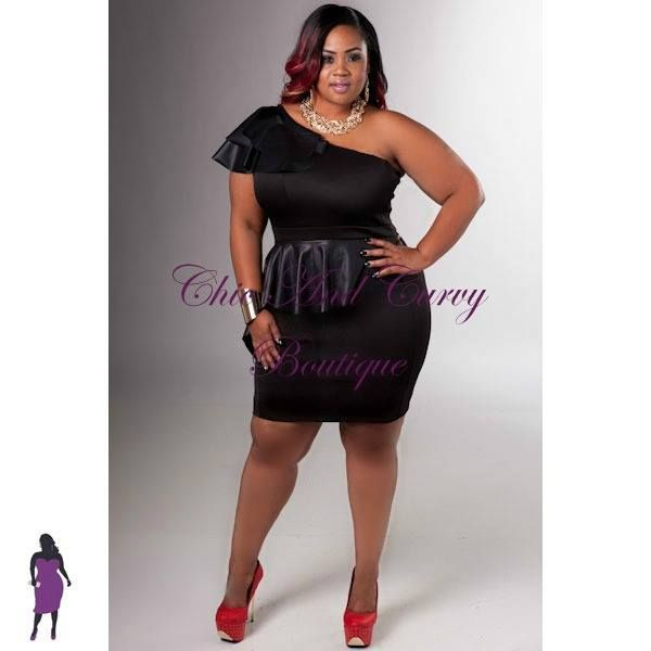 New Plus Size One Shoulder Dress with Black Liquid Ruffled ...