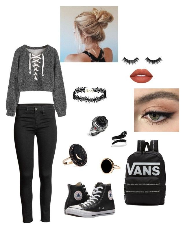 """""""nr. 4"""" by patriivasca on Polyvore featuring Andrea Fohrman, Ginette NY, Effy Jewelry, Vans, Converse, Morphe and Stila"""