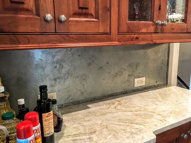 Covered A Back Splash On A Butlers Pantry With Zinc Sheet Metal Metal Strapping With