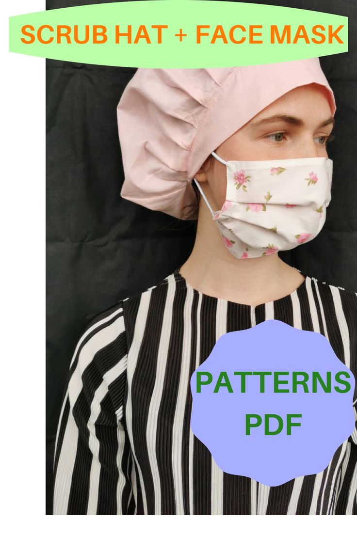 2 sewing patterns Bouffant surgical cap pattern PDF easy
