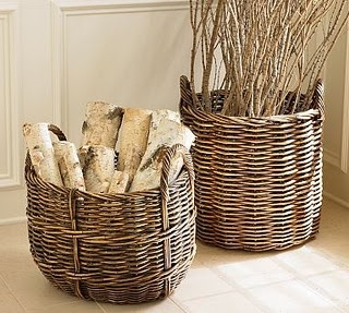 Birch logs in baskets