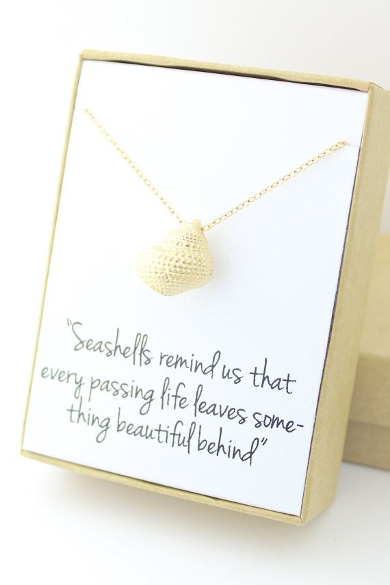 Gold Seashell Necklace Sea Shell Conch Necklace by powderandjade