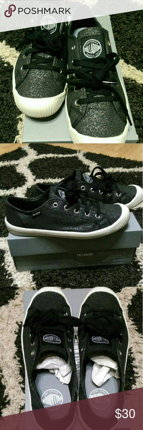 Palladium shoes Black and silver New in box Palladium Shoes Sneakers