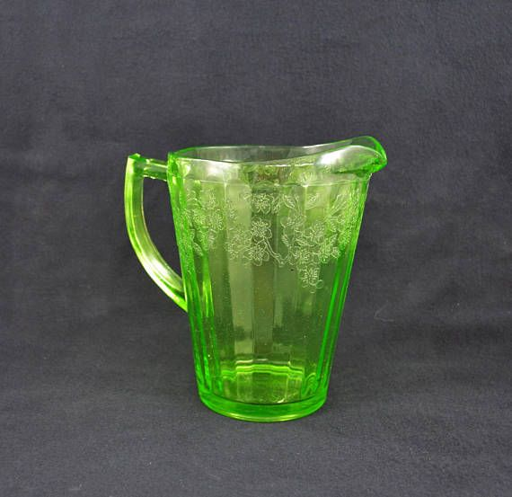 Vintage Depression Glass Pitcher Green Uranium Glass Pitcher