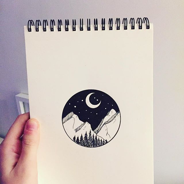 Weekend doodle #illustration #illustrator #design #sketch #drawing #draw #ink #pen #tattoo #tattoodesign #mountains #landscape #nature #explore #wanderlust #blackwork #linework #art #artist #artwork #artistic #instaart #minimal #blackandwhite #night #stars #instafollow #evasvartur